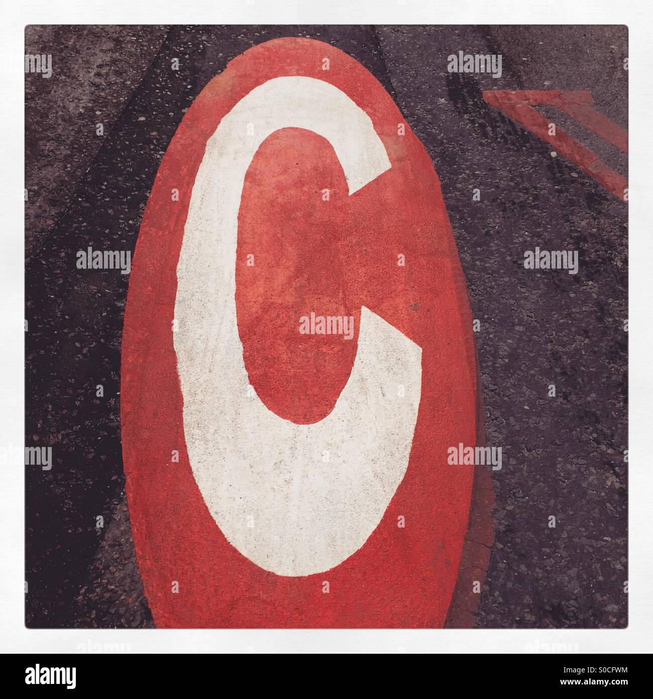 A congestion zone sign on the road - Stock Image