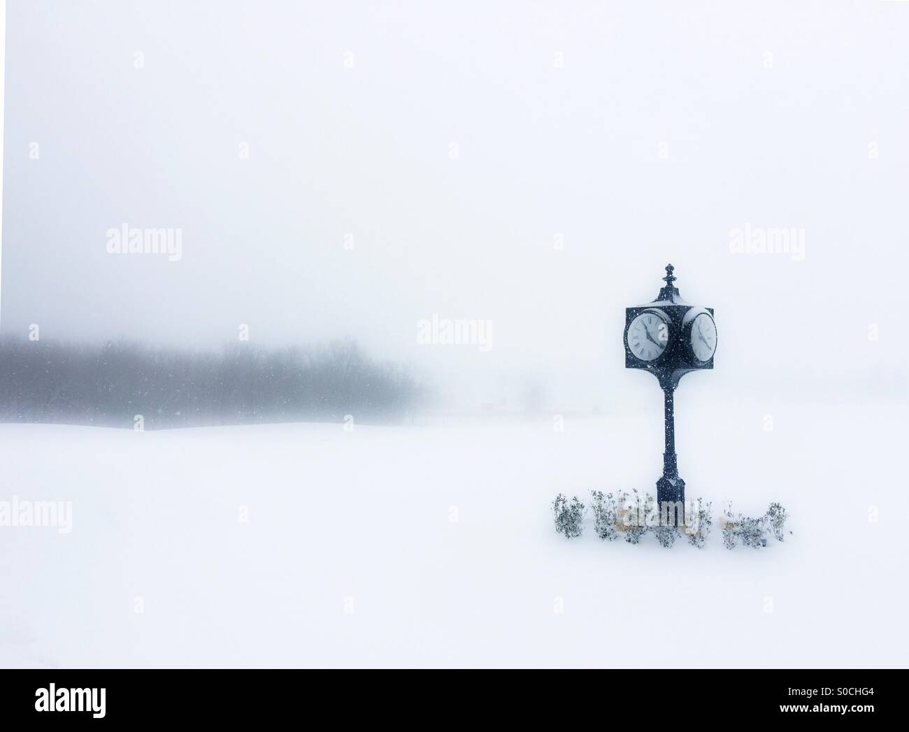 Snow on the driving range. - Stock Image