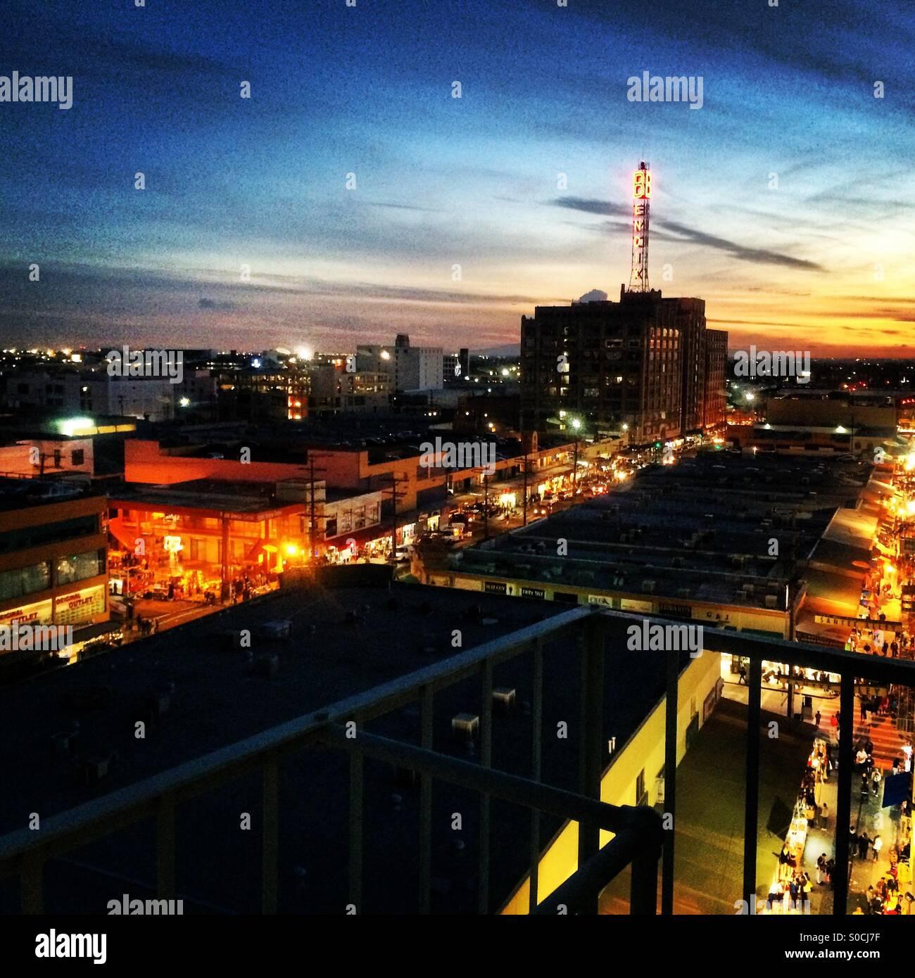 Downtown LA Sunset - Stock Image
