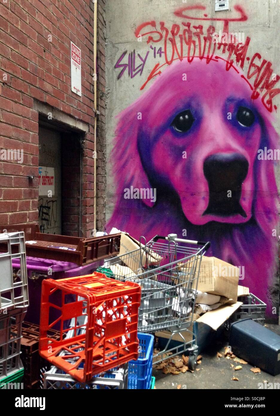 Street art of golden retriever dog with rubbish including shopping trolley milk crates  in city lane - Stock Image