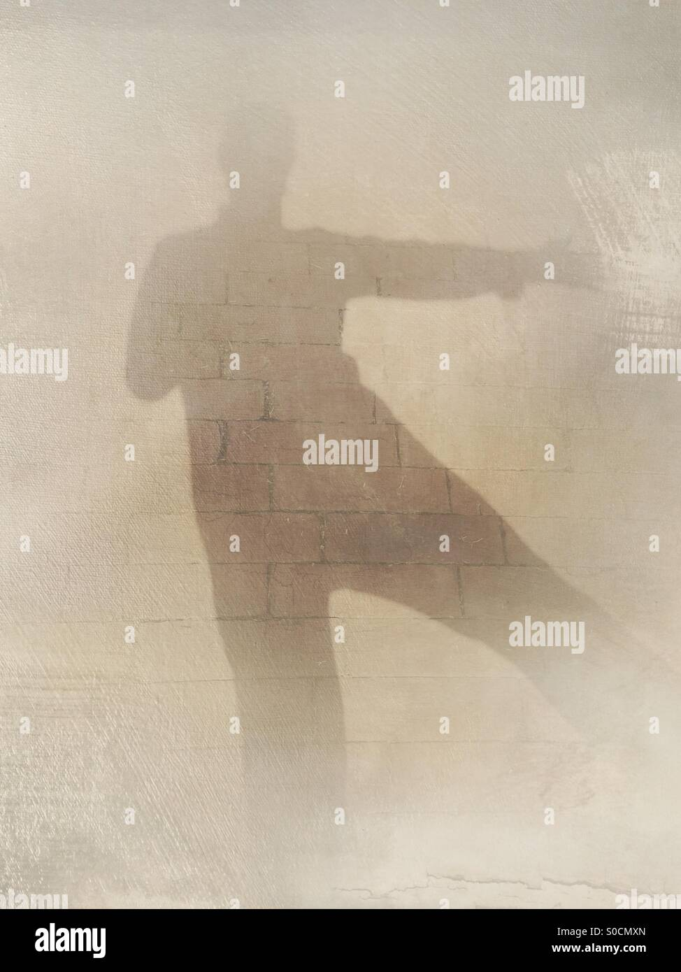 Shadow silhouette selfie of person with arm and leg extended, with paint overlay to gradually erase subject. Concepts - Stock Image