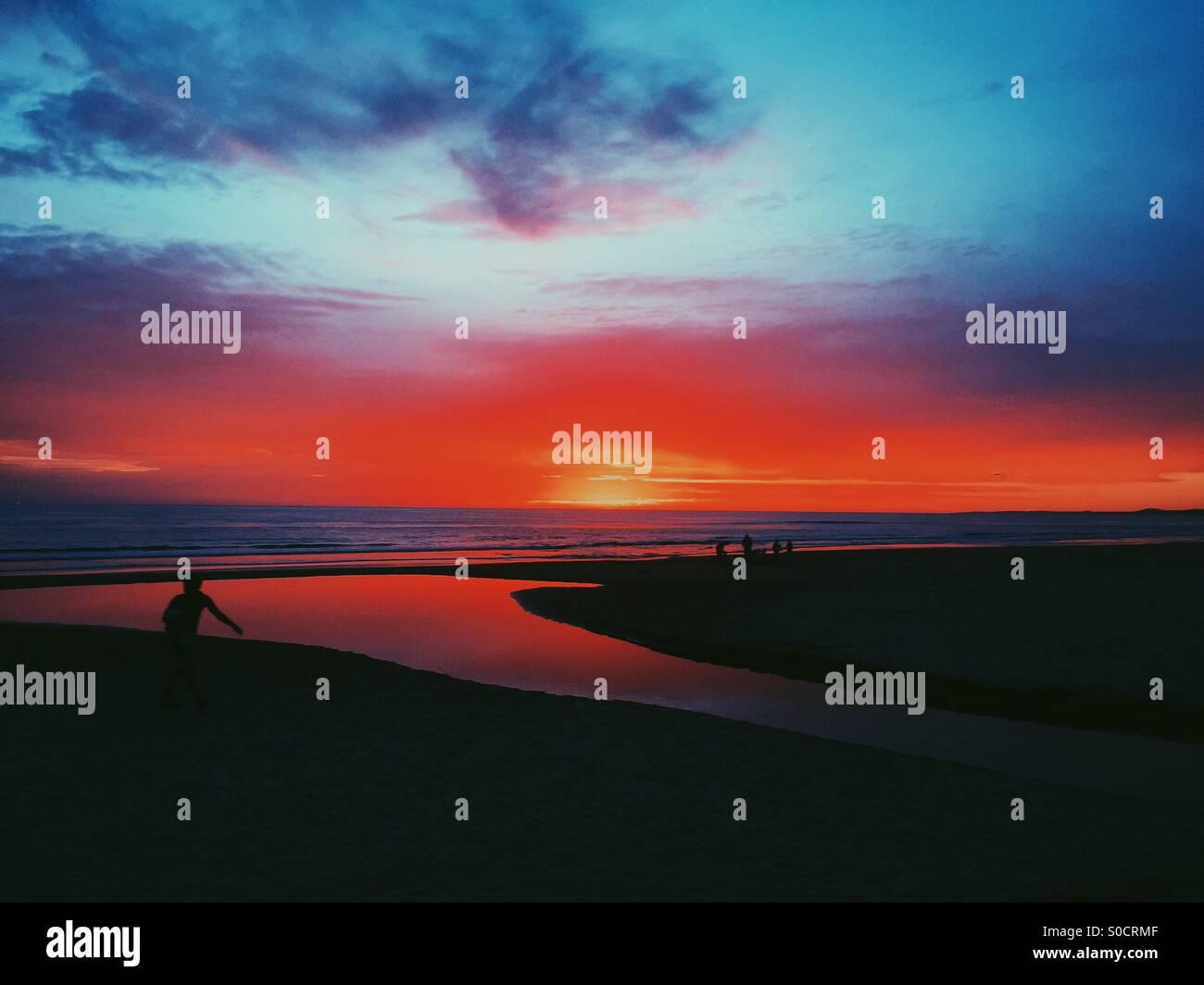 Sunset at Punta del este, Uruguay. - Stock Image