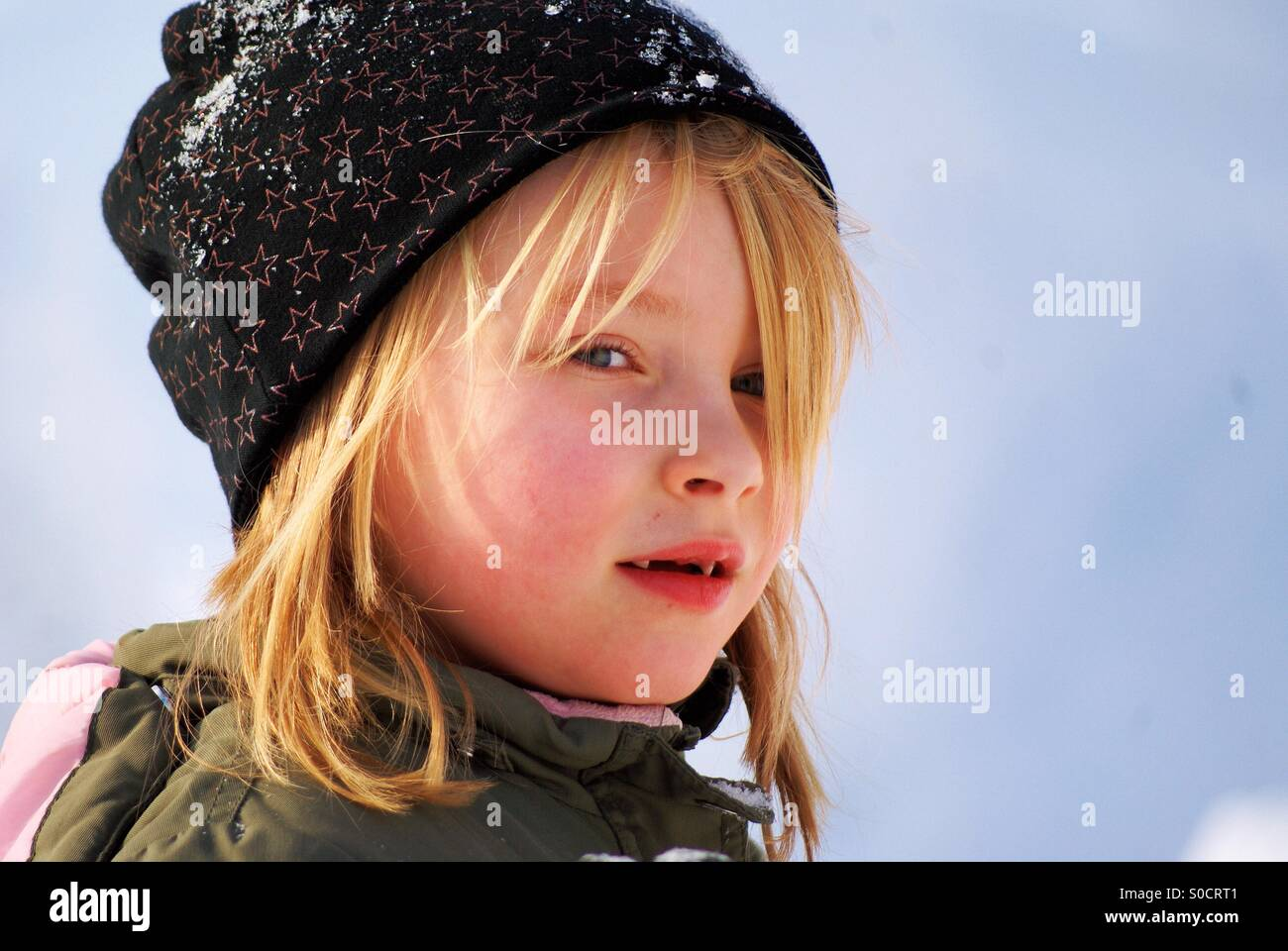 Girl with a that seem to think about something - Stock Image