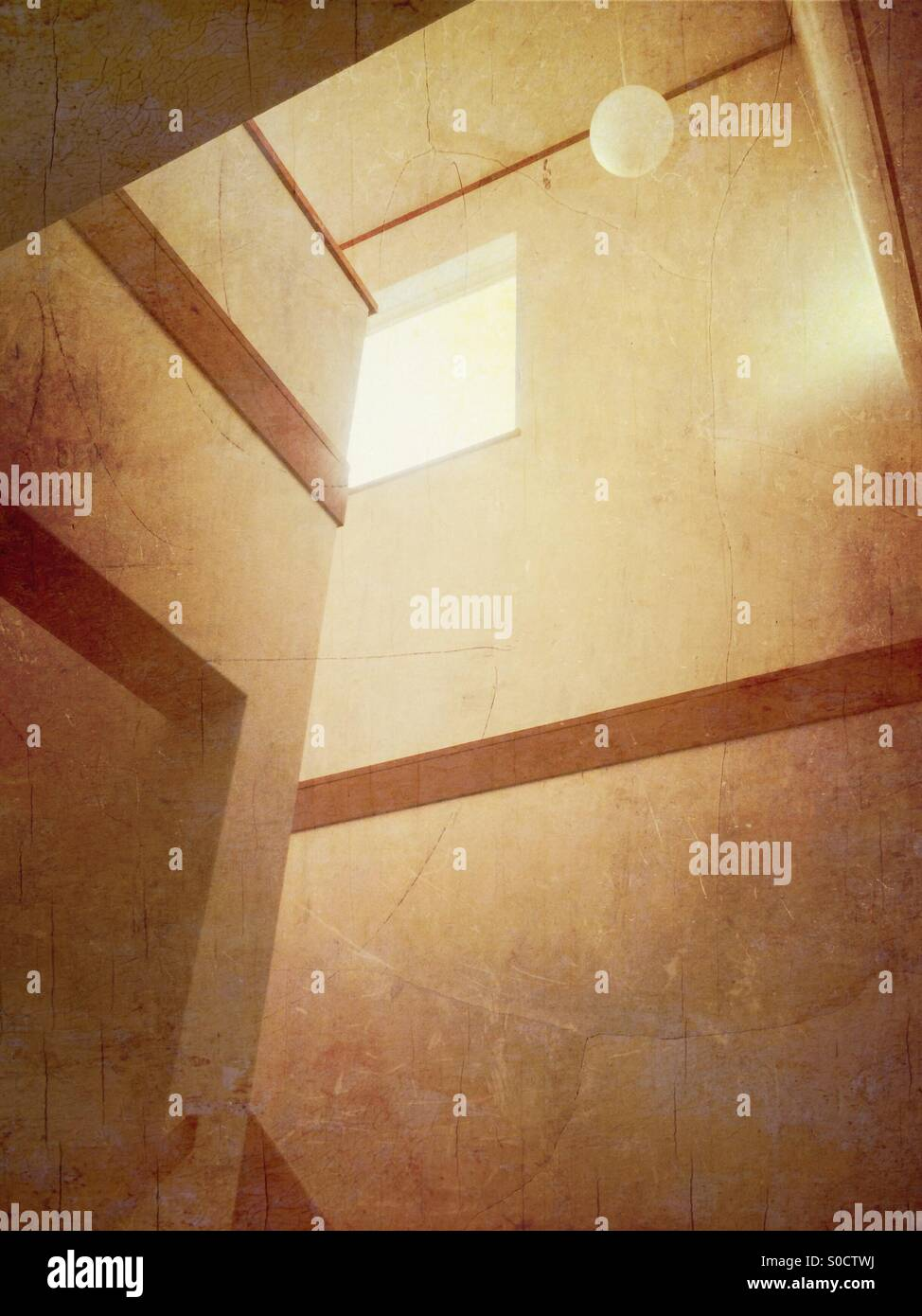 Walls and windows with white wallpaper and wooden brown trim. Vintage paper and grungy cracked textures overlay - Stock Image