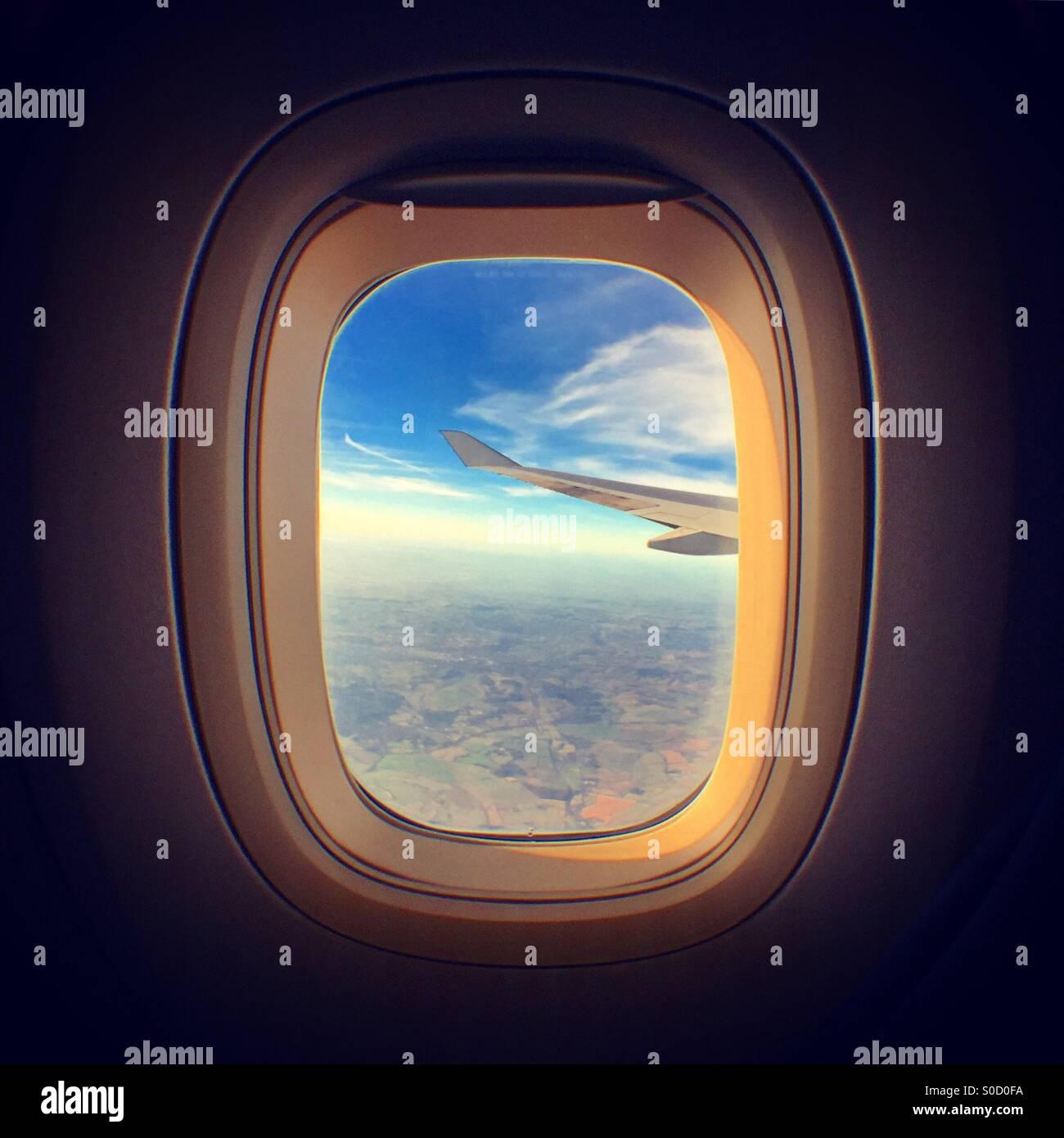 Stunning view through a plane window - Stock Image