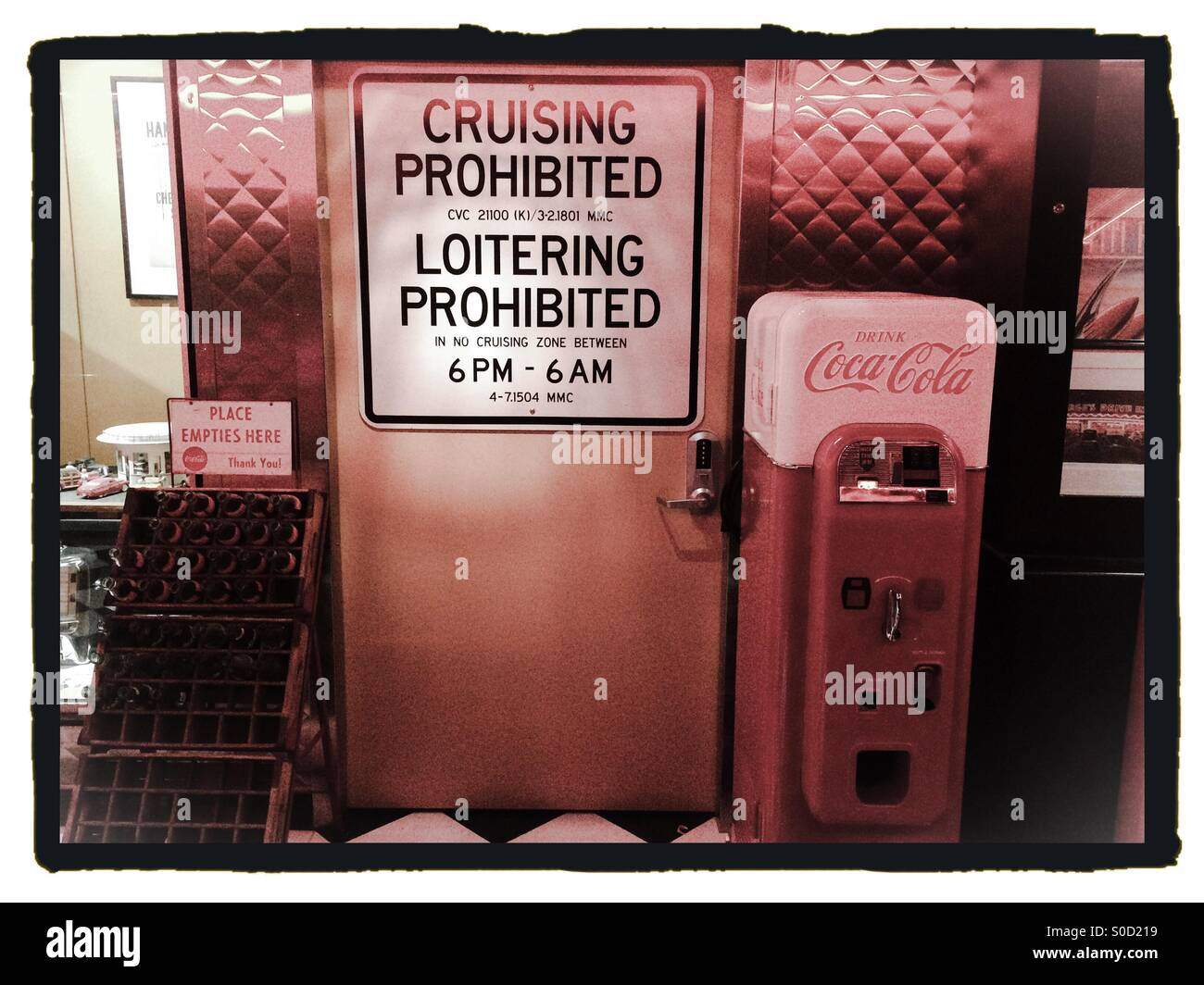 A Cruising Prohibited traffic sign in the American Graffiti exhibit at the McHenry Museum. Modesto, California, - Stock Image