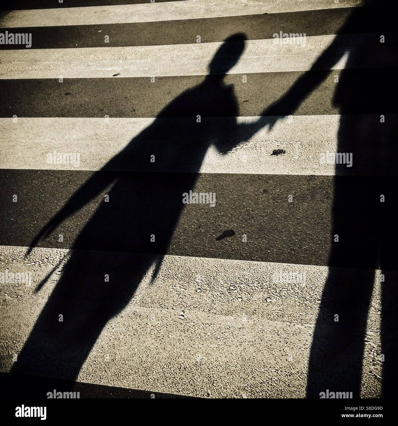 Shadow of a child and his father crossing a pedestrian crossing - Stock Image