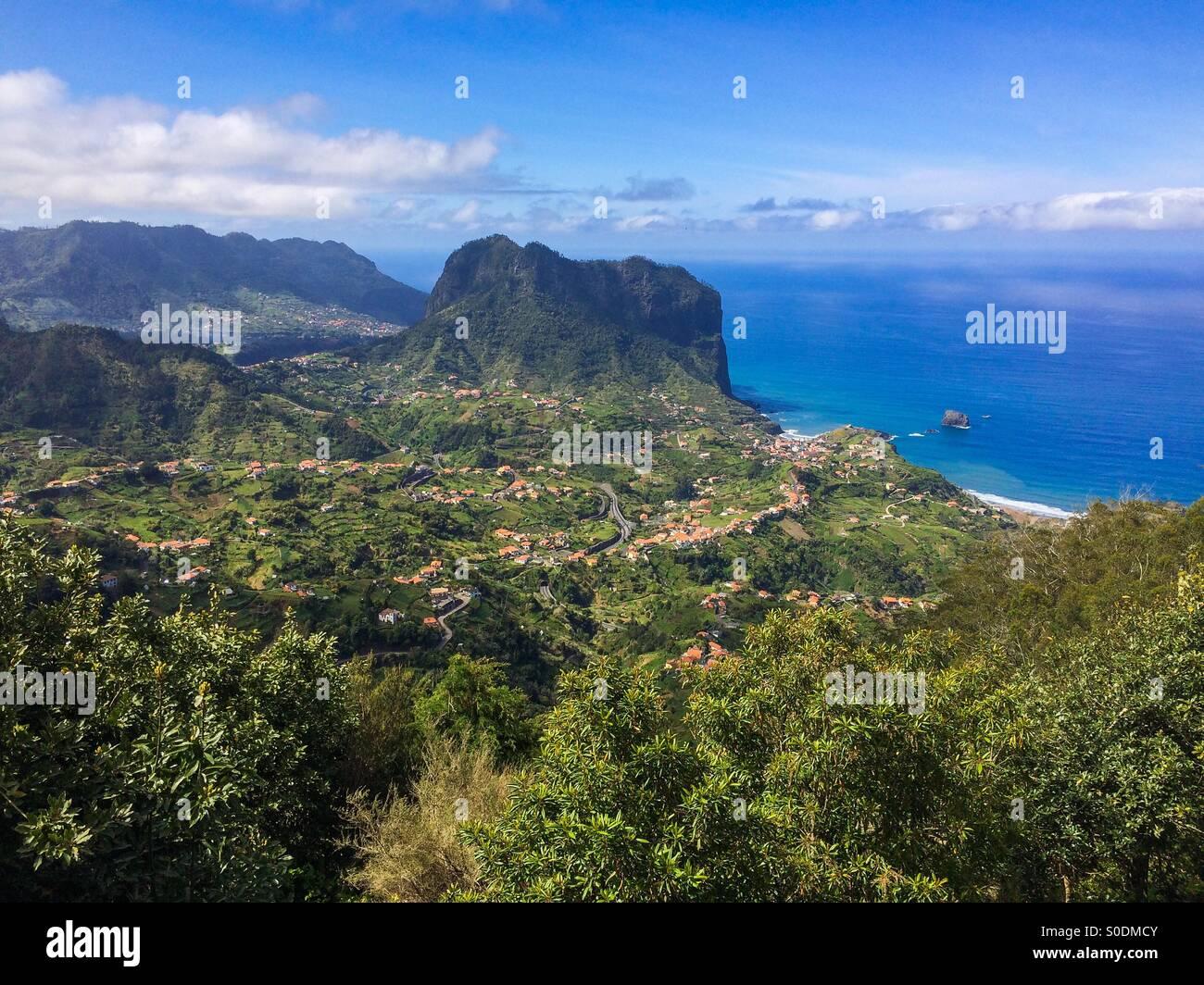 View looking down to Porto da Cruz on the Portuguese island of Madeira. - Stock Image