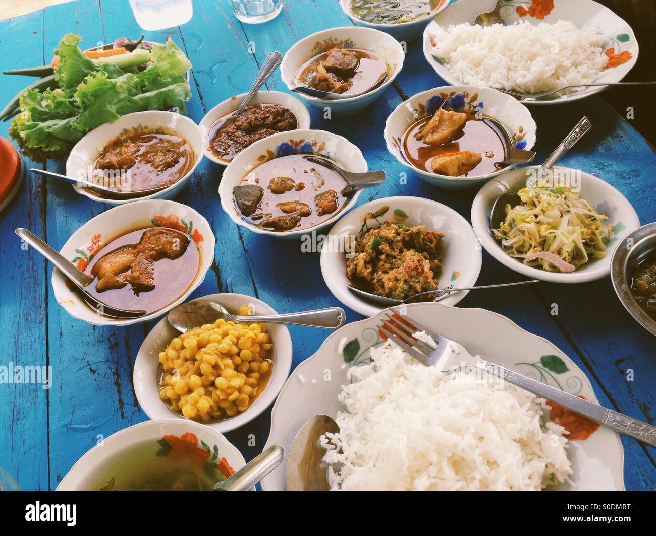 Traditional lunch in Burma. - Stock Image