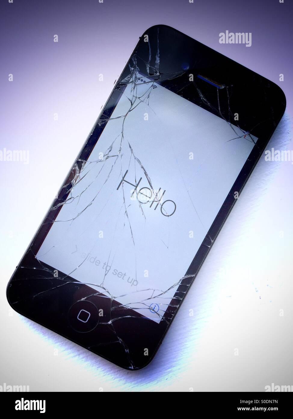 Iphone 4s With Broken Screen Stock Photo Alamy