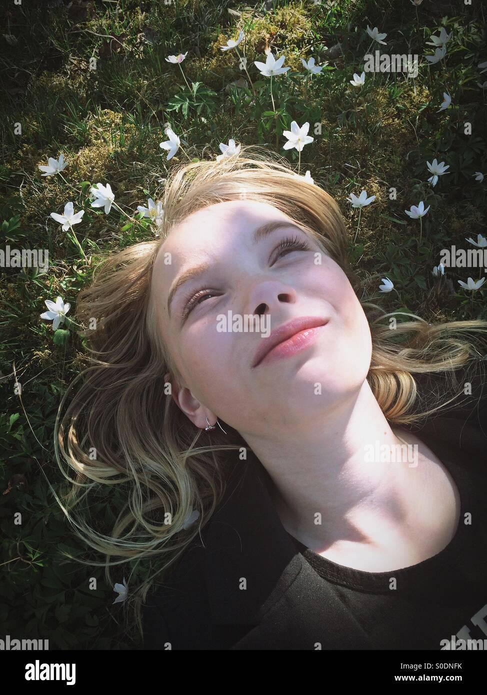 Enjoy the spring sun - Stock Image