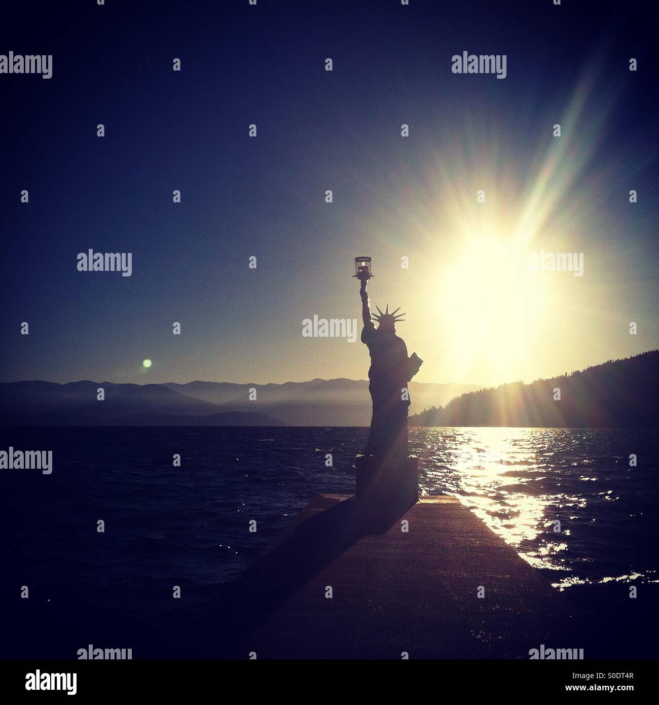 A small replica of the Statue of Liberty resides in Sandpoint, Idaho. - Stock Image