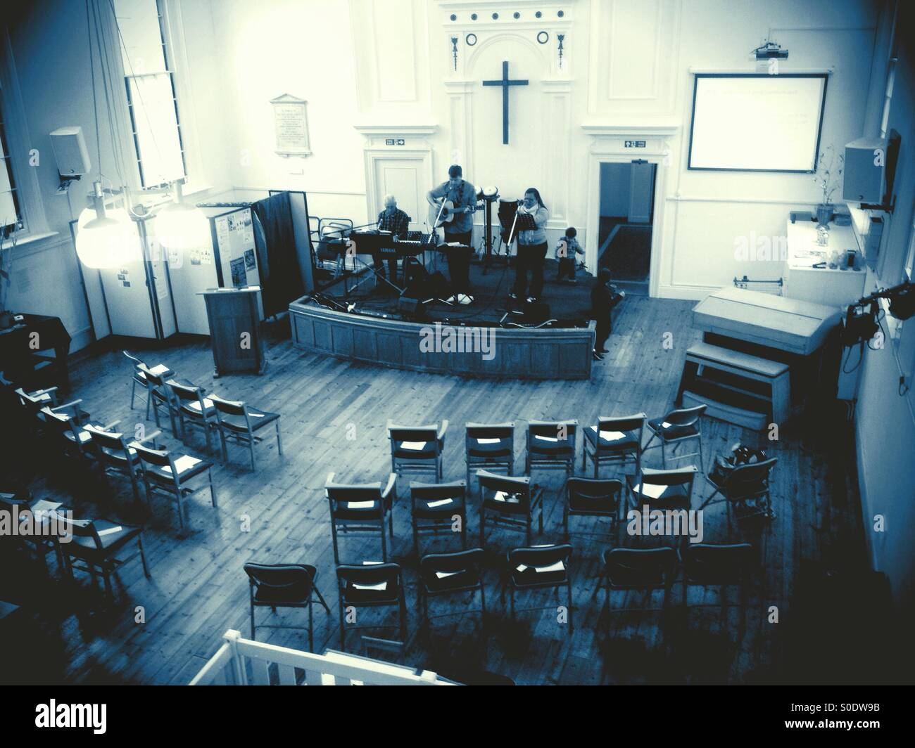 Church praise and worship band rehearsal. - Stock Image