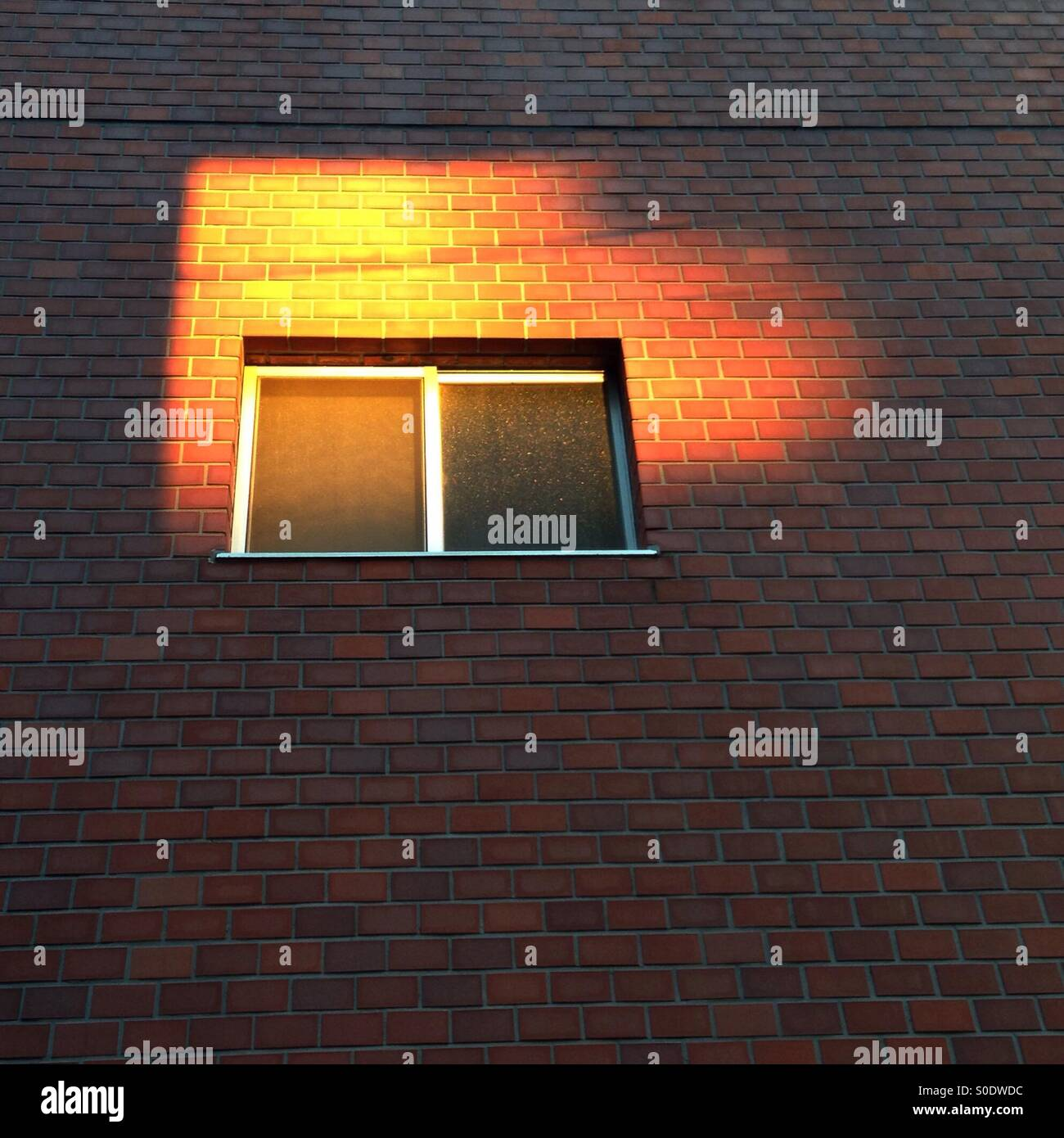 Setting Sun Spotlights Solitary >> Solitary Window In A Wall Illuminated By Setting Sun Stock Photo