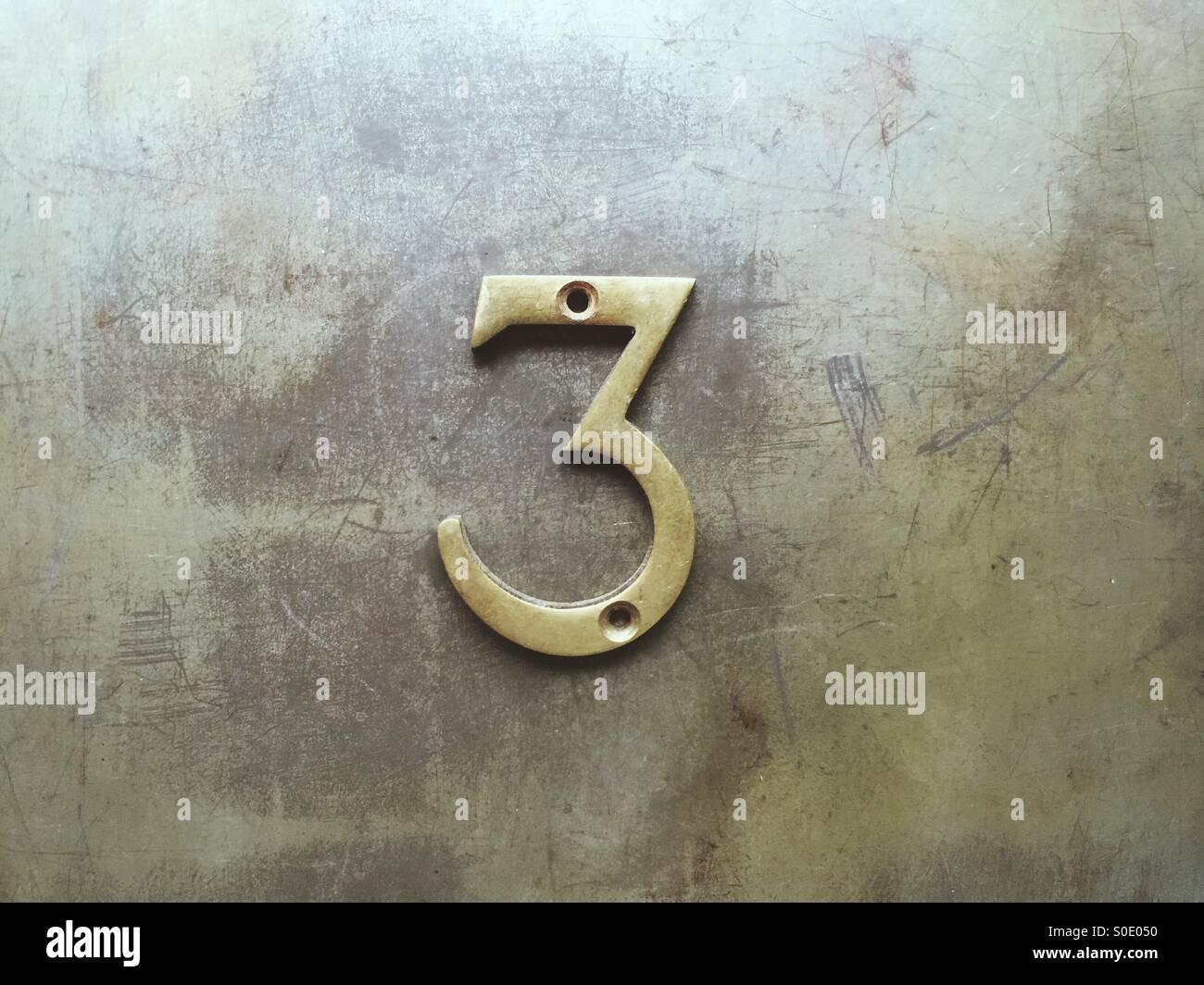 Metal number 3 - Stock Image