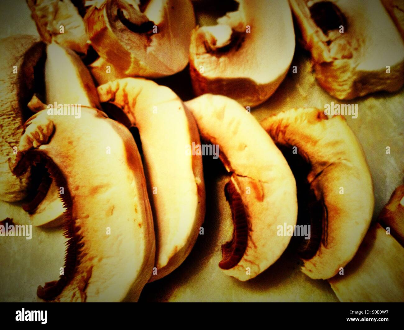Sliced mushrooms. Stock Photo