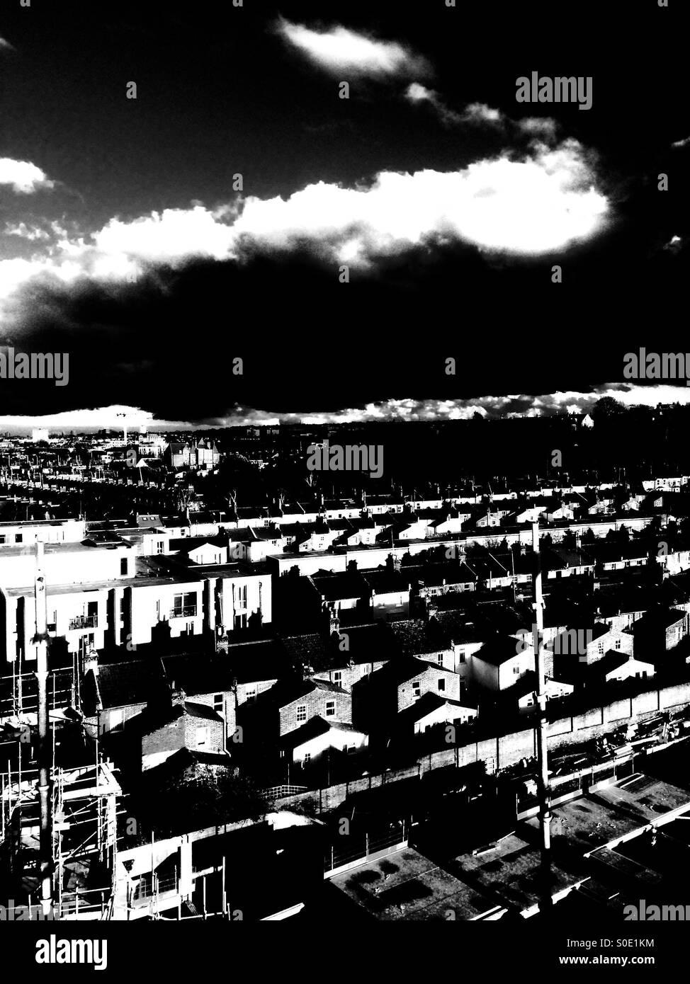London. The black skies. A view from the roof - Stock Image