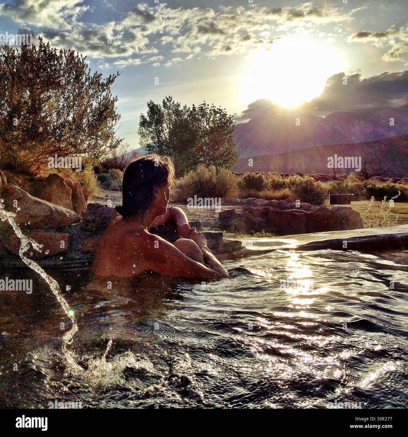 Hot spring morning in the Eastern Sierra of California. - Stock Image
