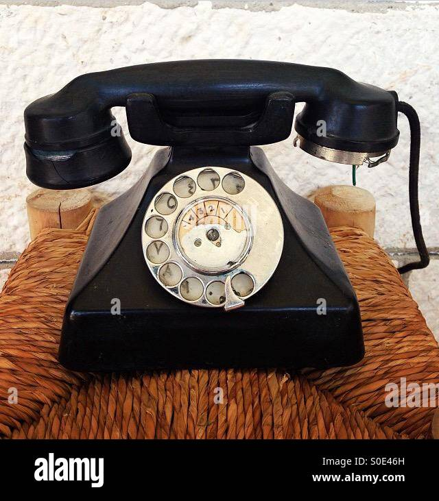 Old phone with arabic numbers - Stock Image