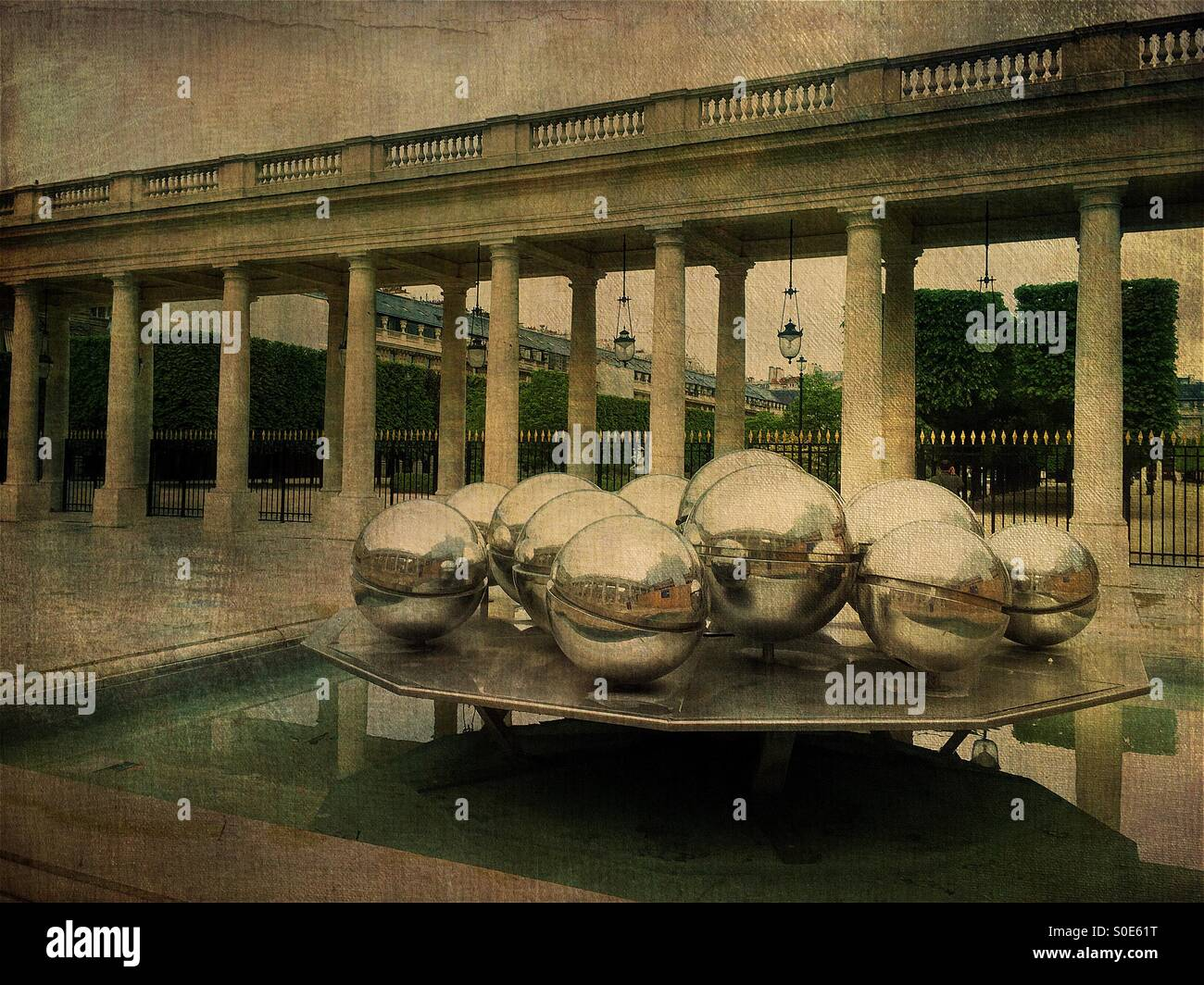 View of Fontaines installation by Pol Bury at the Orleans Gallery of Place du Palais-Royal in Paris, France. The Stock Photo