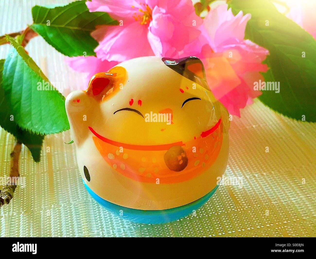 Maneki Neko Lucky Cat - Stock Image