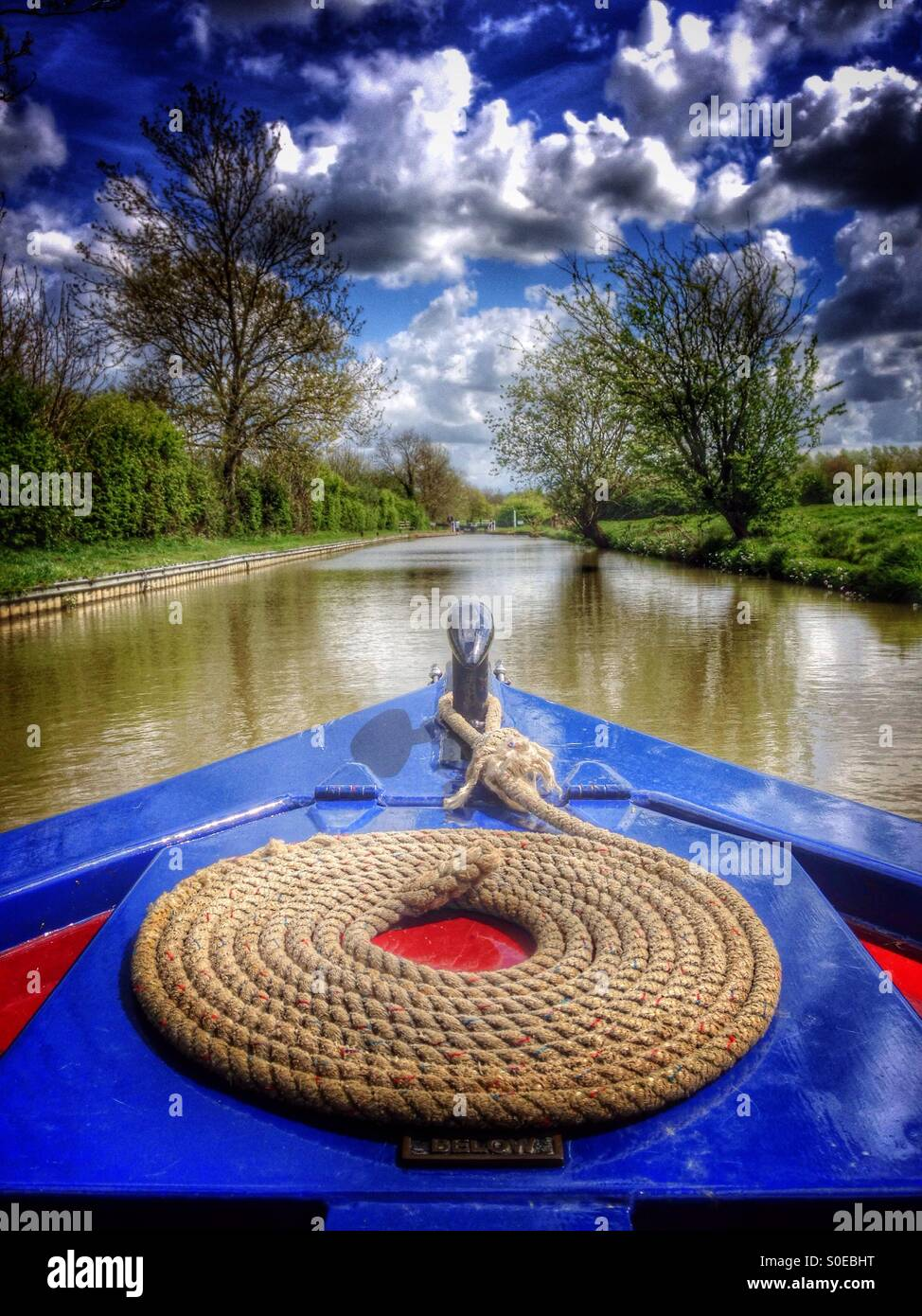Bow of a traditional narrowboat on the South Oxford Canal near Cropredy, Oxfordshire, England. - Stock Image