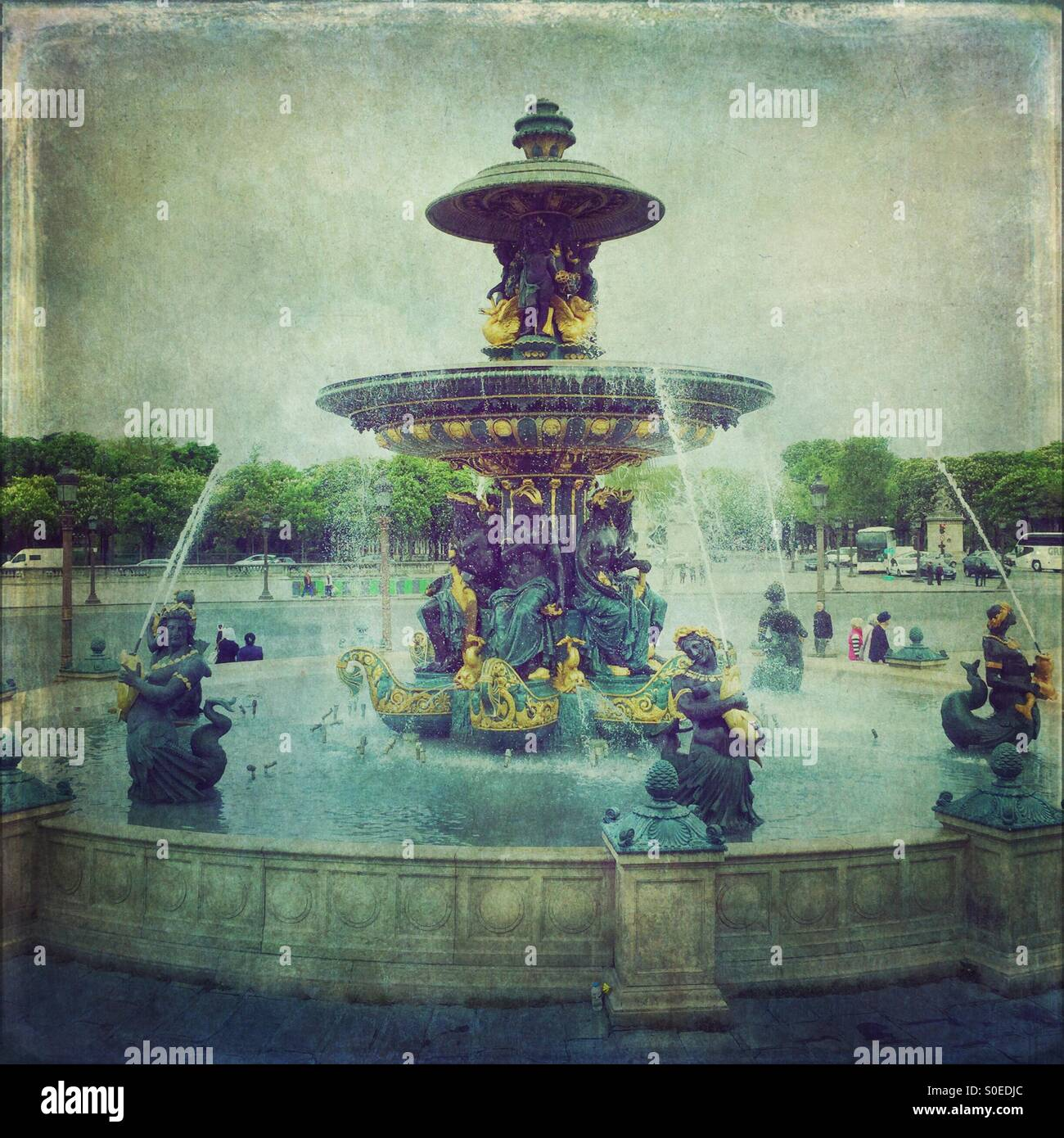 Fountain of River Commerce and Navigation at Place de la Concorde, a major public square in Paris, France. Located Stock Photo