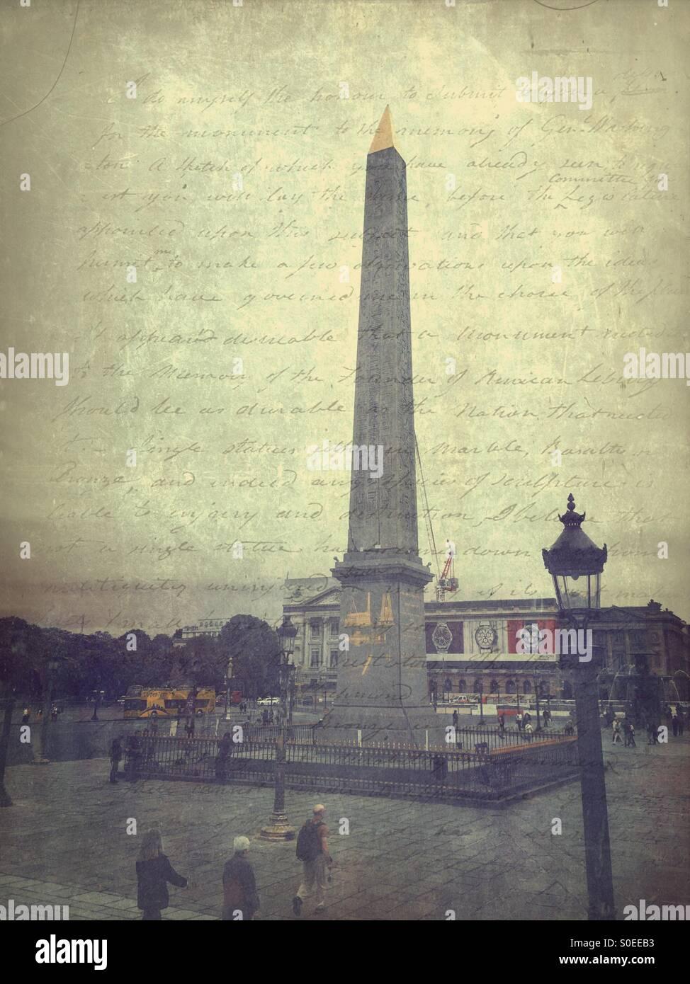 Obelisk at Place de la Concorde, a public square in Paris, France. French capital's eighth arrondissement.  Vintage Stock Photo