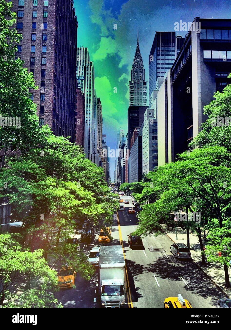 Street traffic on 42nd Street NYC - Stock Image