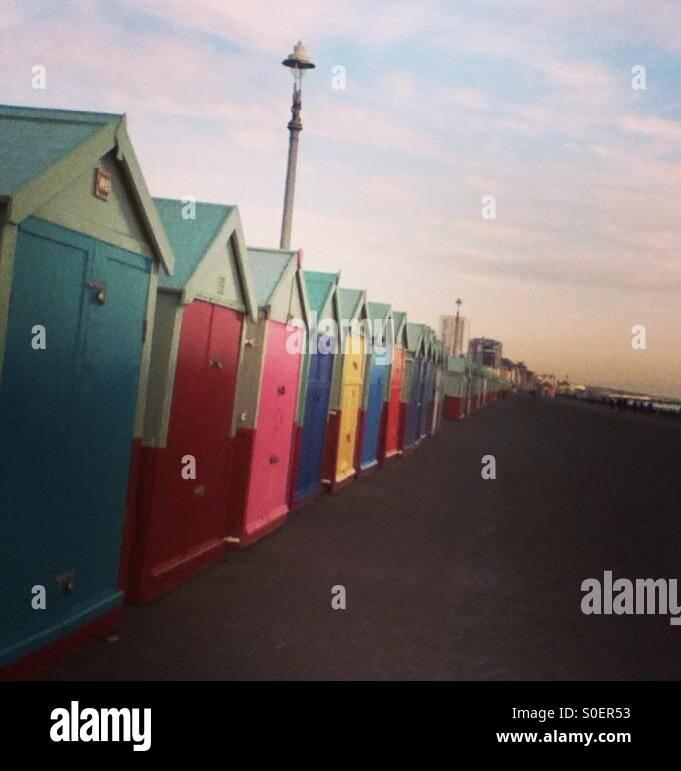 Beach huts, Brighton & Hove, Sussex Stock Photo