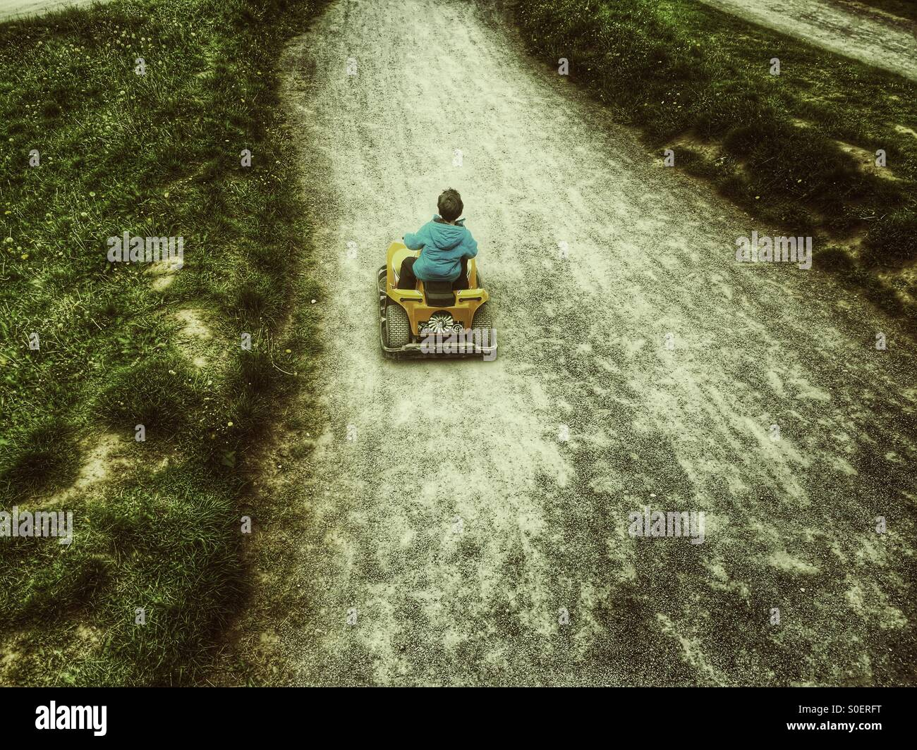 Little boy karting - Stock Image
