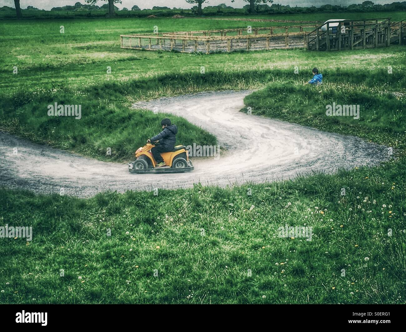 Children kart racing - Stock Image