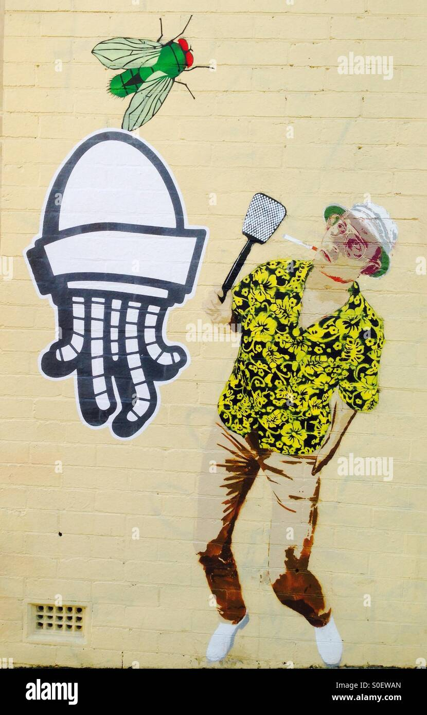 Street art on wall of Johnny Depp playing Hunter S Thompson fly ...
