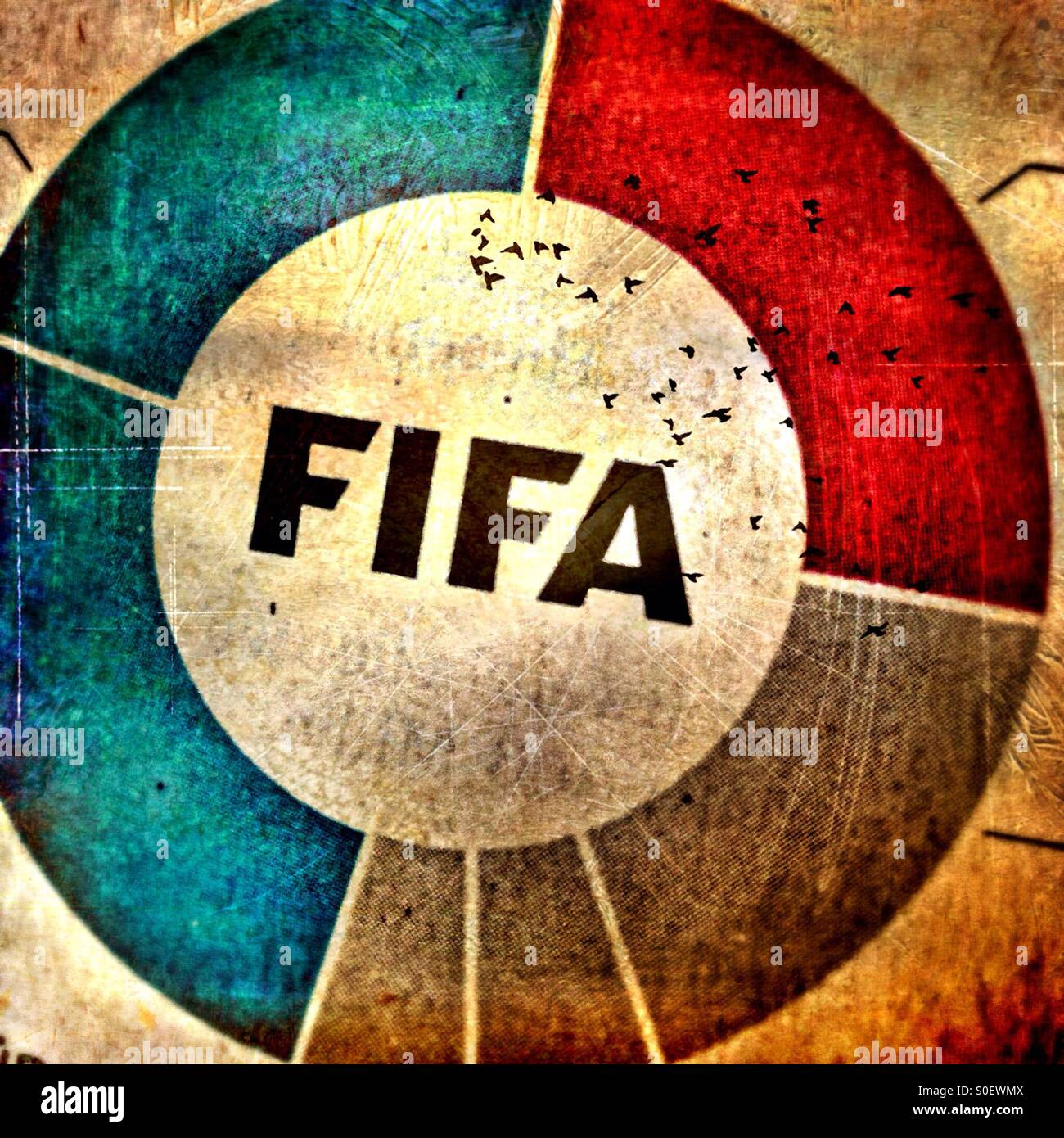 Processed Detail of an article about the Fifa corruption case in the German newspaper süddeutsche Zeitung - Stock Image