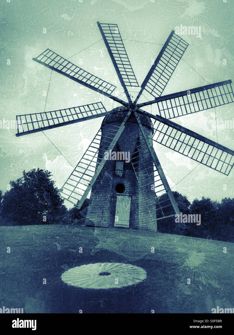 Windmill built in 1810 for grinding grains - Stock Image