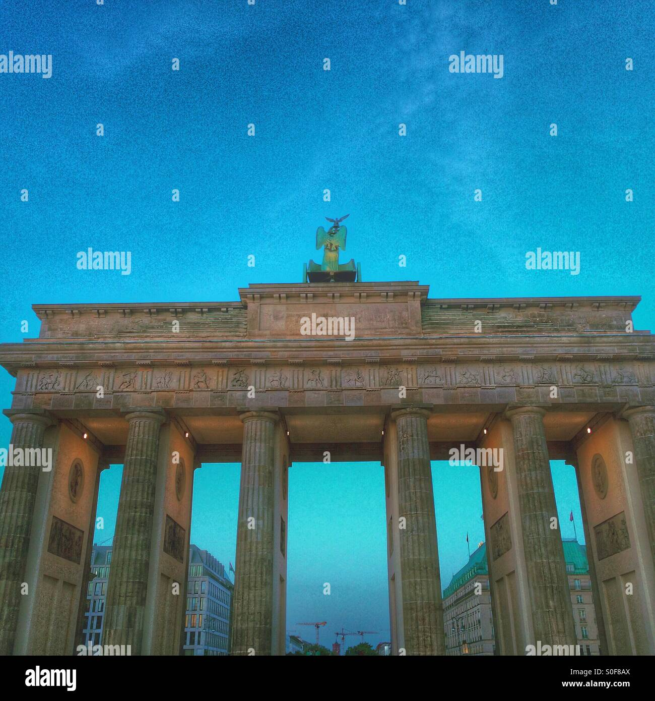 Berlin Brandenburg gate from the West side - Germany - Stock Image