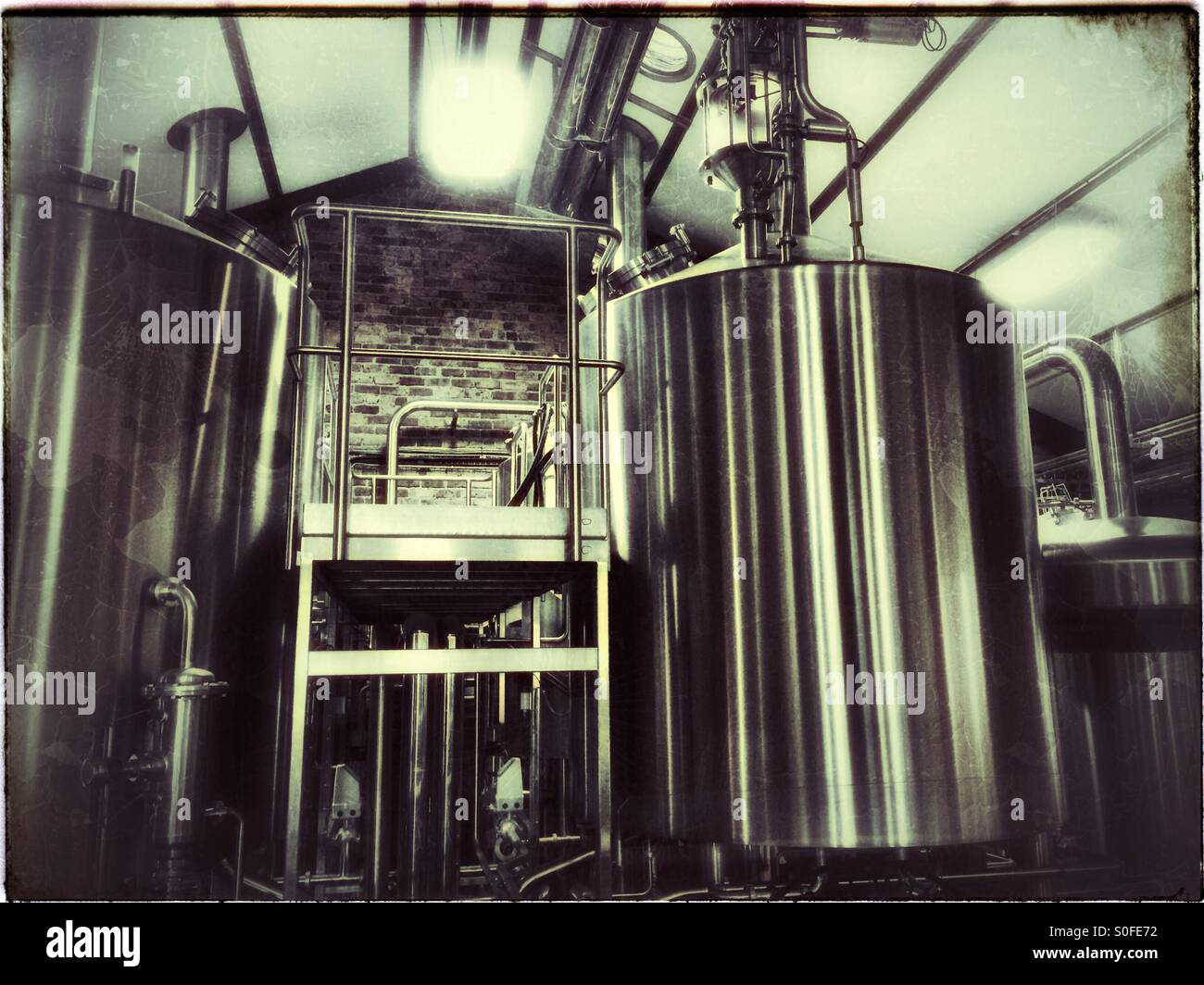 Tanks at Cape Brewing Company, Spice Route, Paarl, South Africa. - Stock Image