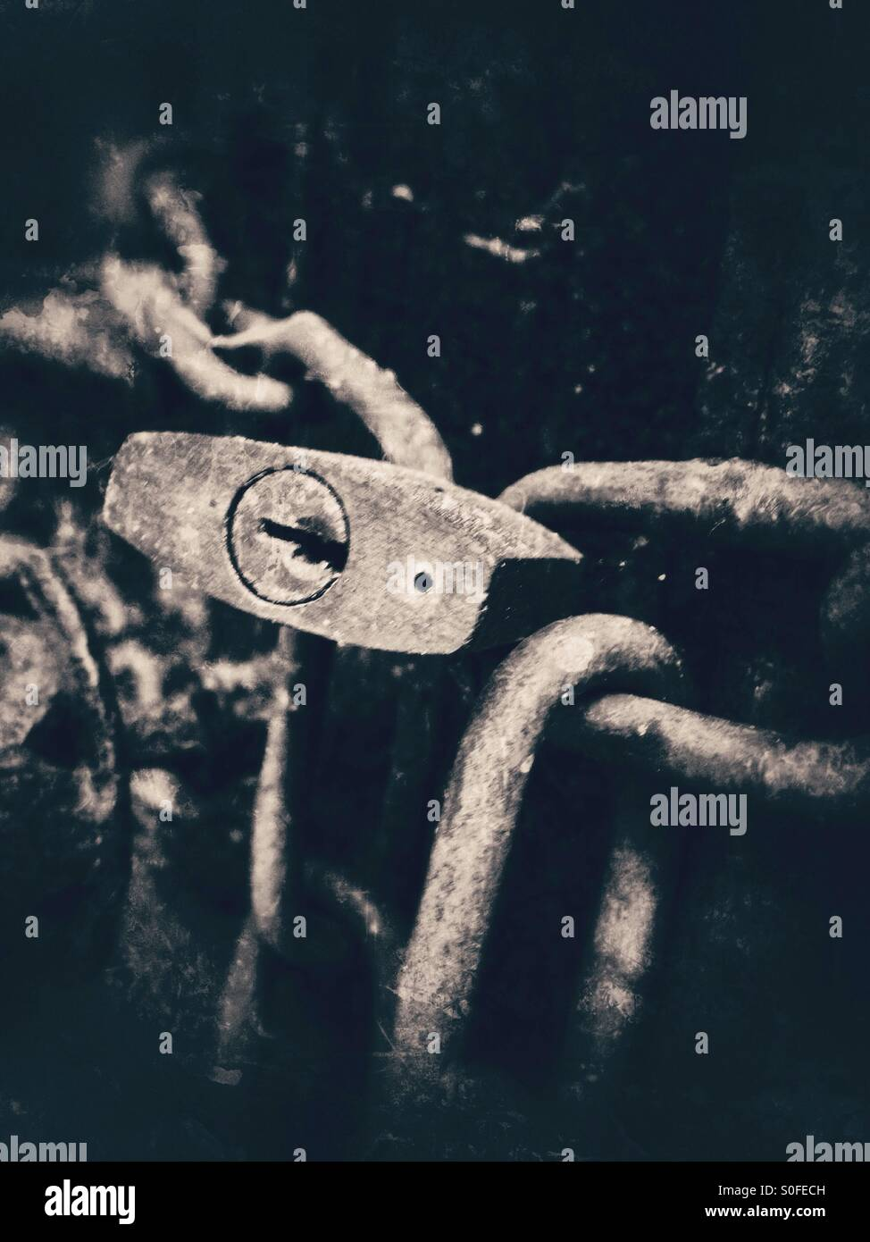 Old lock and chains - Stock Image