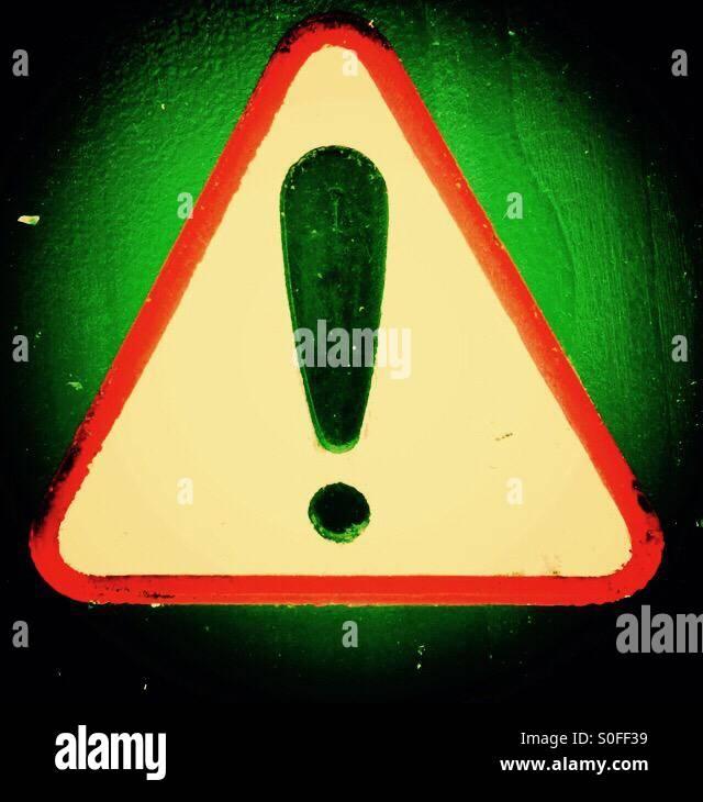 Warning of danger or think warning sign - Stock Image