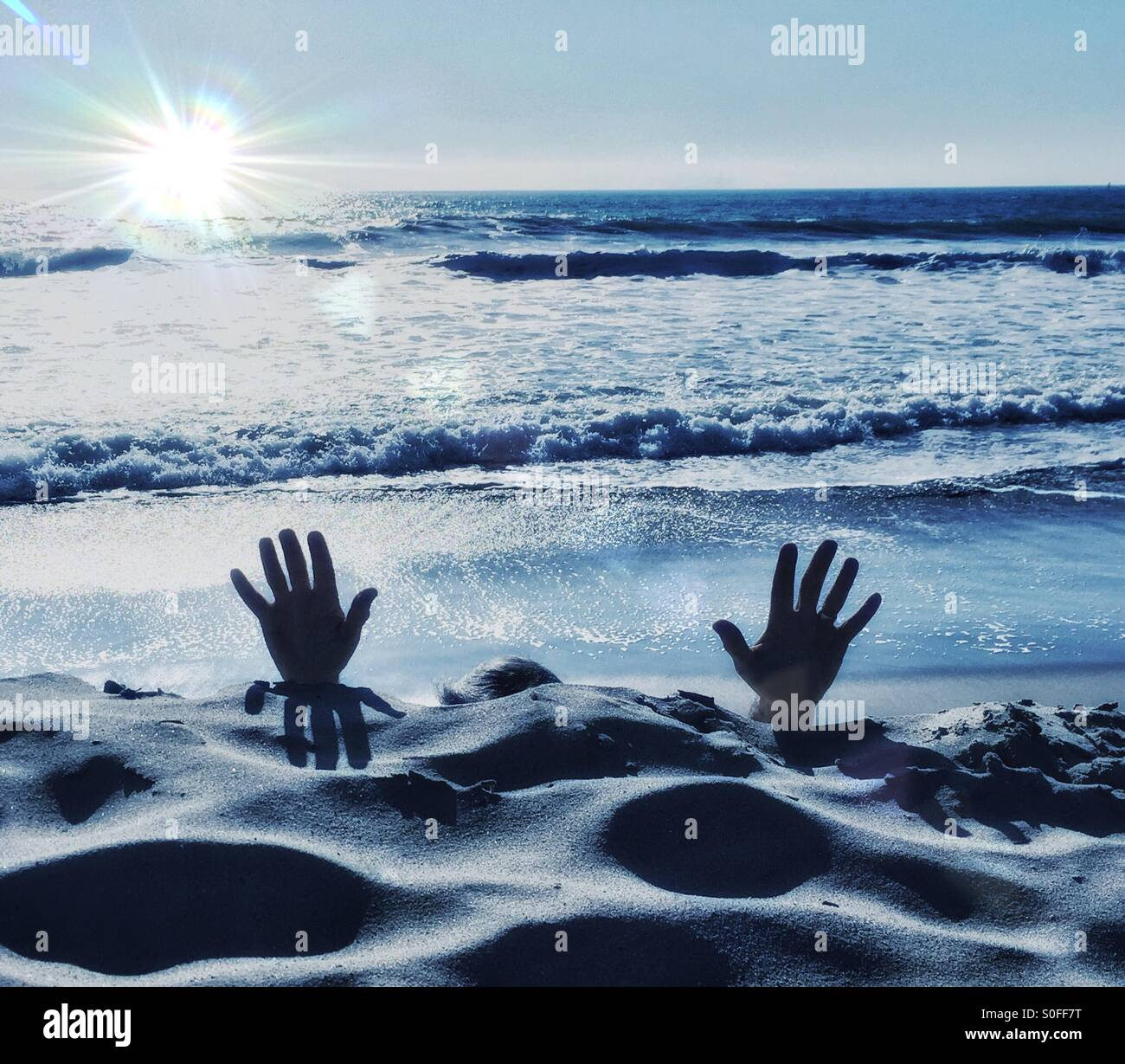 I Surrender, Man With Hands Up, Reaching For Help - Stock Image