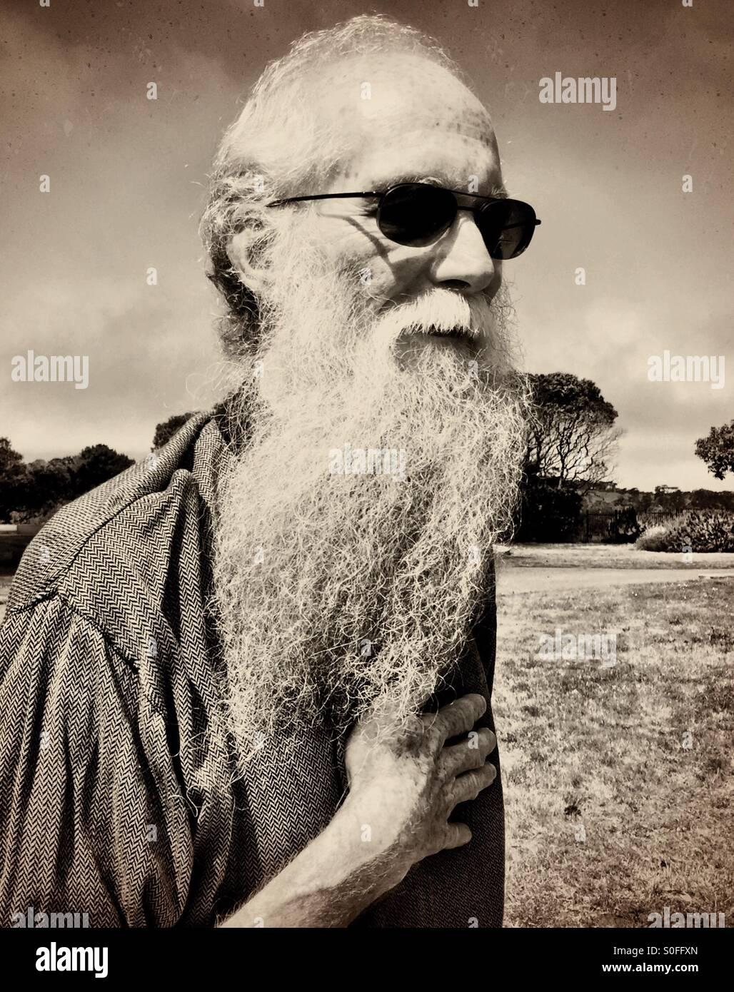 9fd2abc761c7 Elderly man with long white gray beard