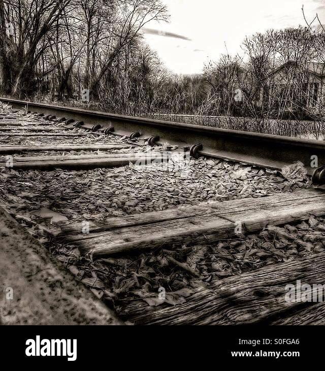 Train tracks in beacon ny Stock Photo