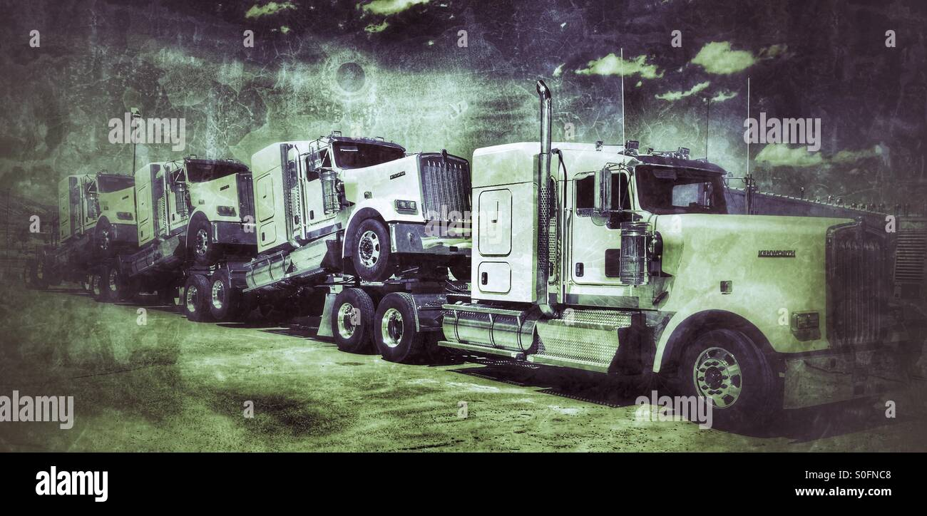 Kenworth diesels be being delivered to dealers - Stock Image