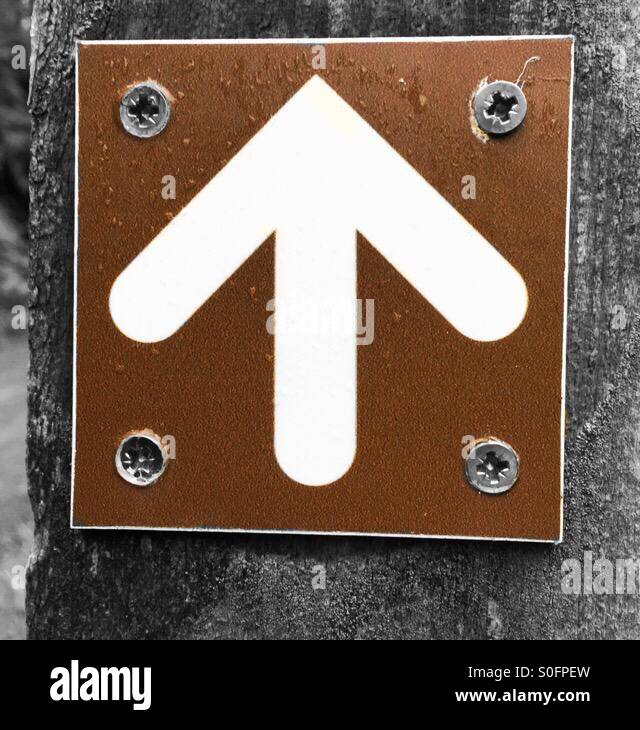 White arrow on a brown background - Stock Image
