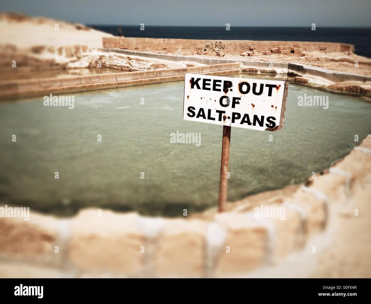 Salt pans keep out, Gozo, Malta. - Stock Image