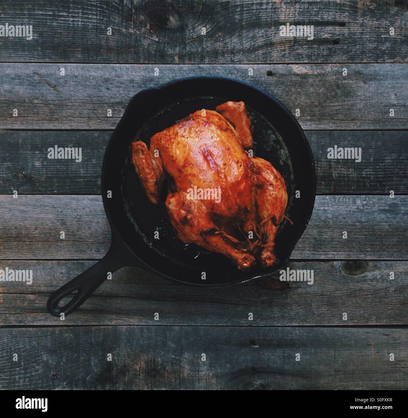 Cast Iron Roast Chicken Stock Photo