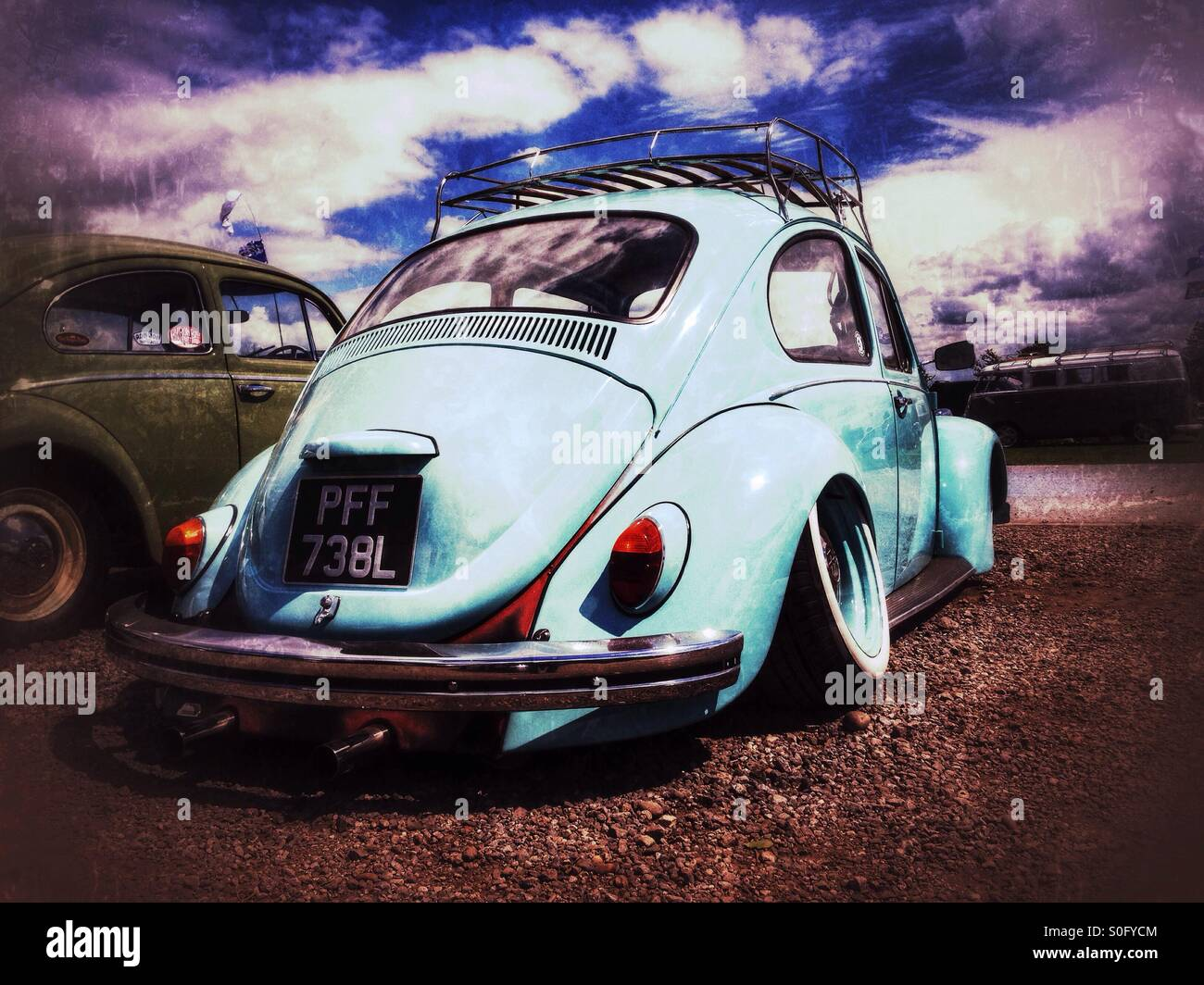 Classic VW Beetle with lowered suspension. - Stock Image