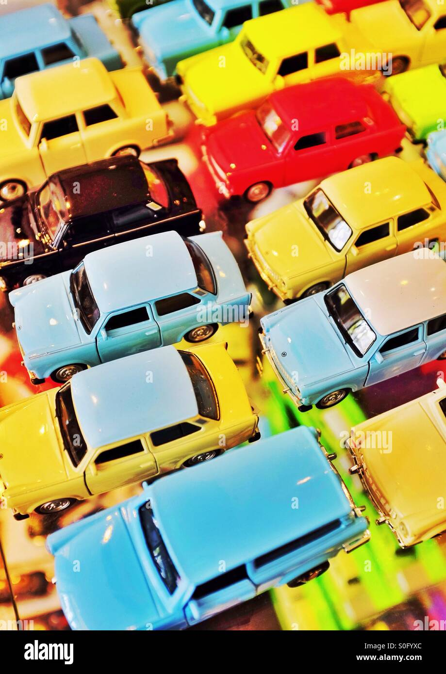 Brightly coloured toy car selection - Stock Image