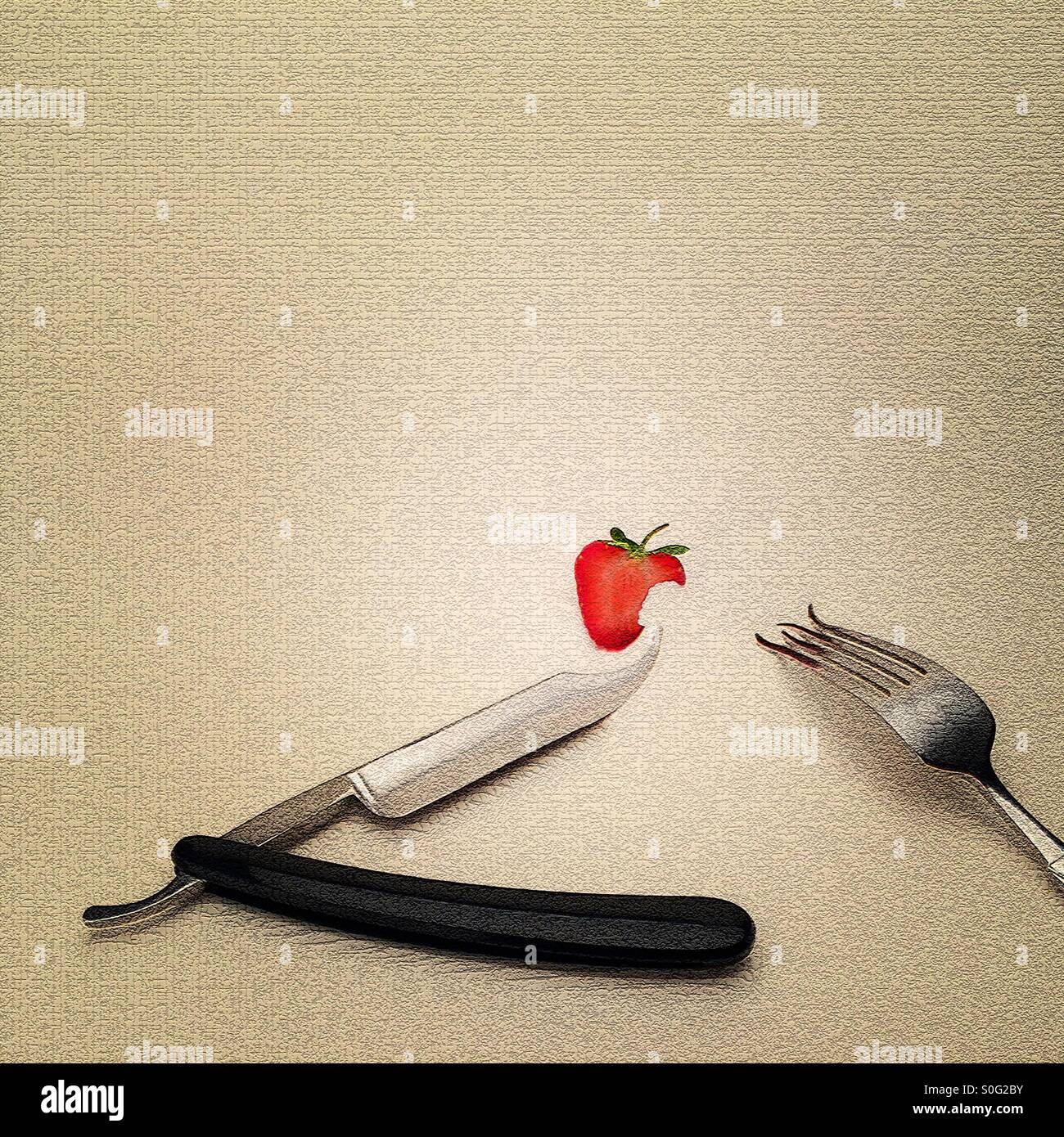 Cut throat razor knife fork and strawberry ( digitally manipulated image ) strange and surreal dinner place setting - Stock Image