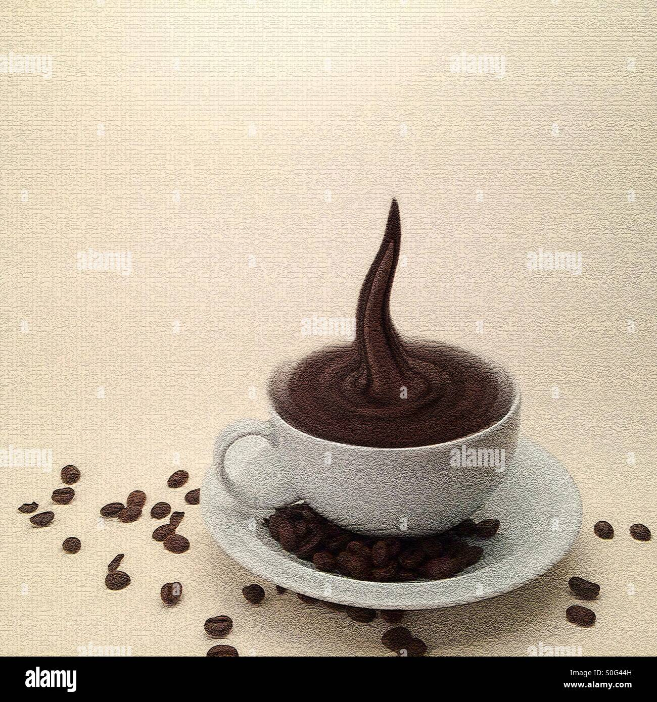 Storm in a coffee cup, manipulated image showing cup and saucer filled swirling coffee including a coffee spout - Stock Image